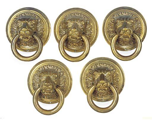 A set of five polished brass c