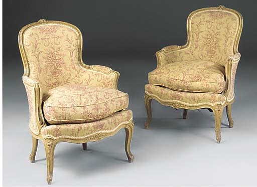 A PAIR OF PAINTED BEECHWOOD BE