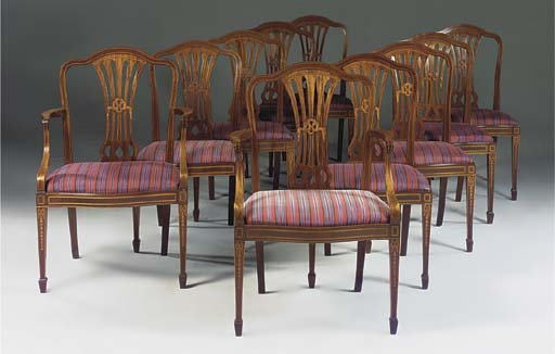 A set of eight mahogany and in