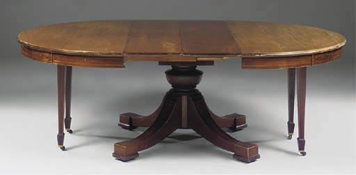 A mahogany and inlaid extendin