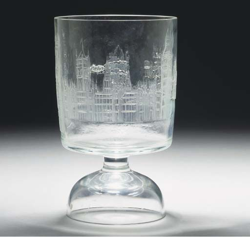 A Moser goblet engraved with L