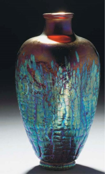 AN IRIDESCENT GLASS VASE