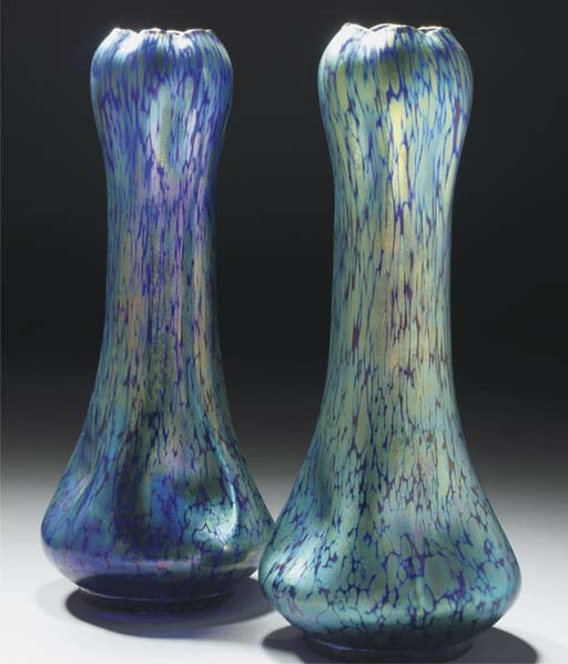 A PAIR OF IRIDESCENT GLASS VAS