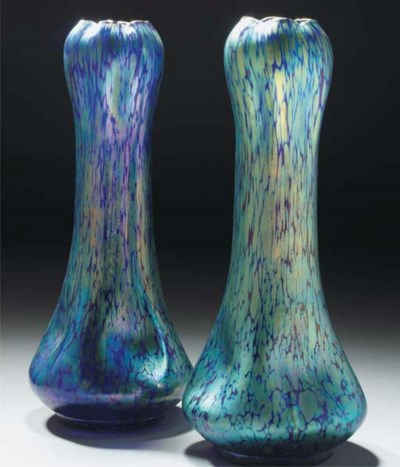 A PAIR OF IRIDESCENT GLASS VAS