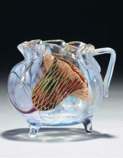 AN ENAMELLED GLASS EWER