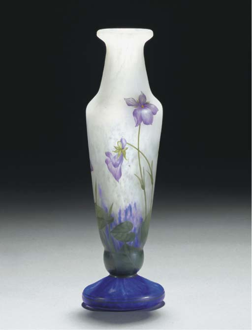 AN ENAMELLED GLASS VASE