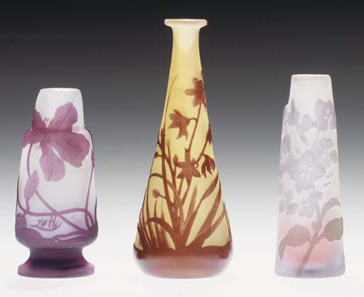 THREE MINIATURE GLASS VASES