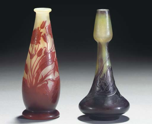 TWO CAMEO GLASS VASES