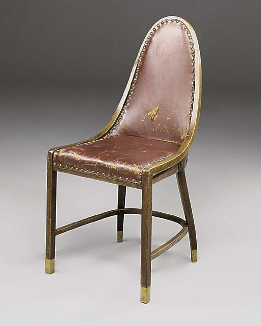 A STAINED BEECH SIDE CHAIR