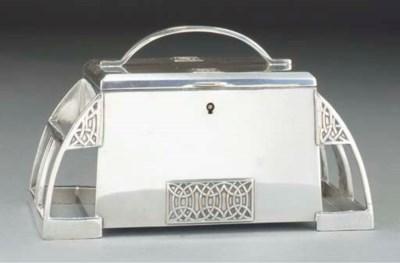 A SILVERED METAL JEWELLERY BOX