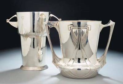 TWO SILVERED METAL CHAMPAGNE B