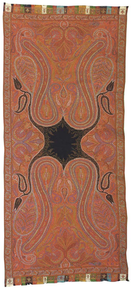 A long patchwork jamawar shawl, woven with elongated scrolling boteh flanking tulip and flame-shaped palmettes, with snaking flowering fronds issuing from a residual field of black wool, trimmed with embroidered harlequin borders--124 x 54in. (315 x 137cm.), Kashmir, late 19th century