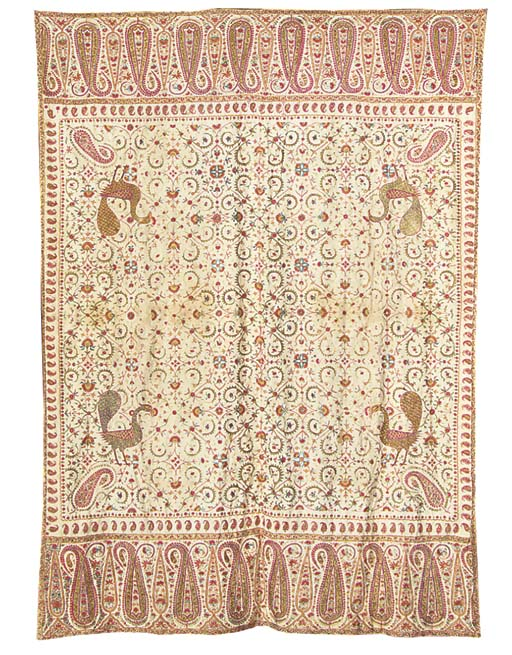 An embroidered coverlet, the c