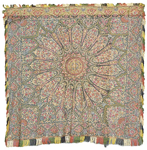 An embroidered shawl, worked i