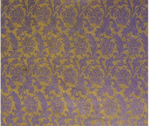 Two panels of figured silk, wo