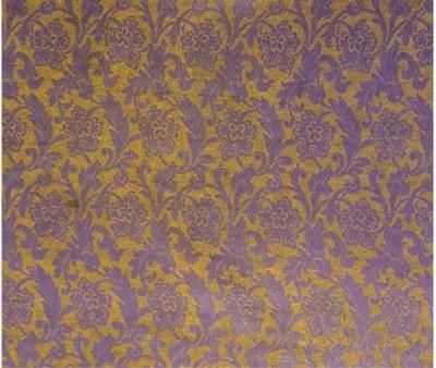 Two panels of figured silk, wo