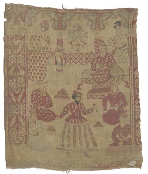 A pictorial silk panel, woven