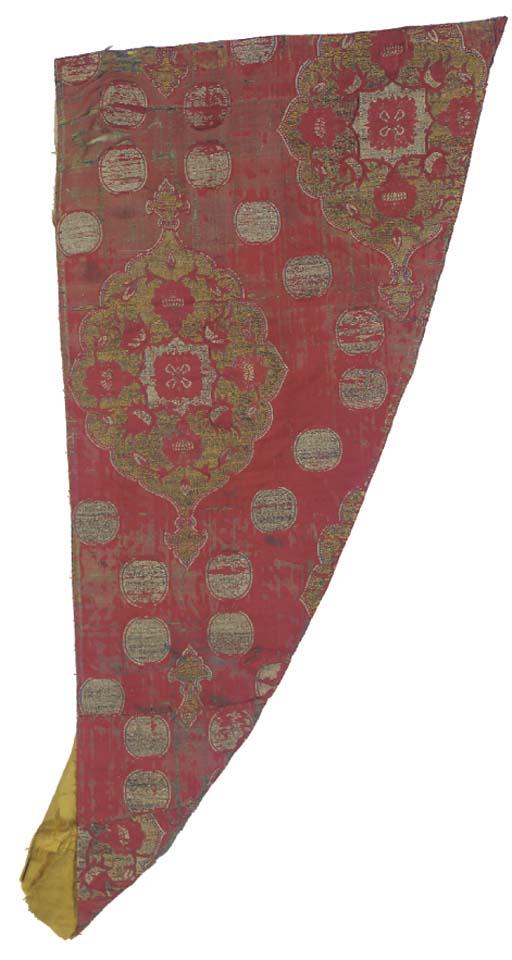 A shaped panel of crimson silk