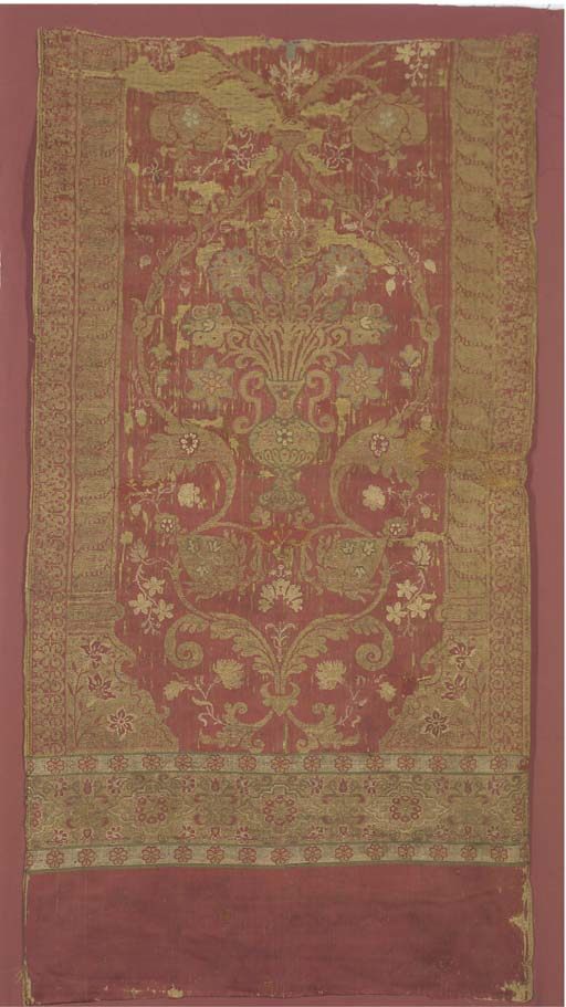 A panel of silk lampas, the cr