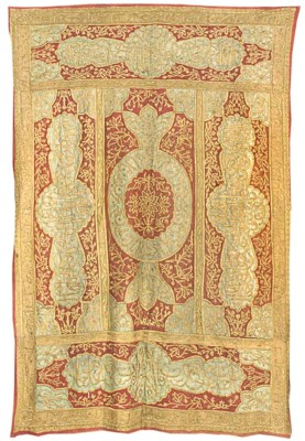 An embroidered hanging, the gr