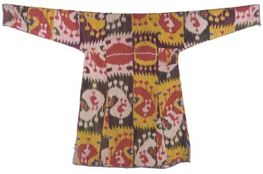 A chapan of silk ikat, woven i