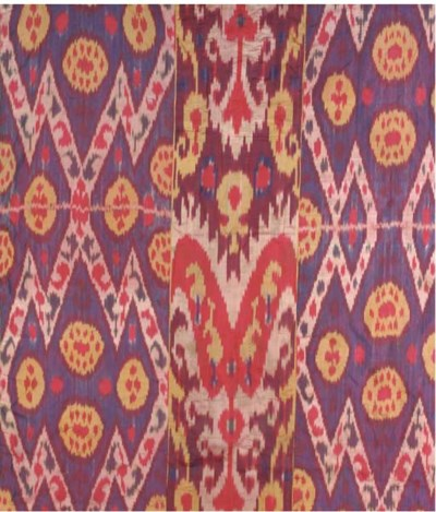 A hanging of silk ikat, woven