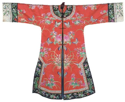An informal robe of red silk,