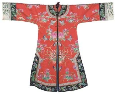 An informal robe of red silk,