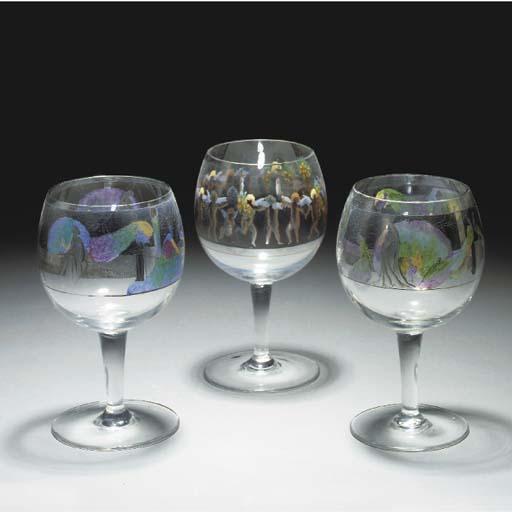 THREE ENAMELLED GLASS GOBLETS