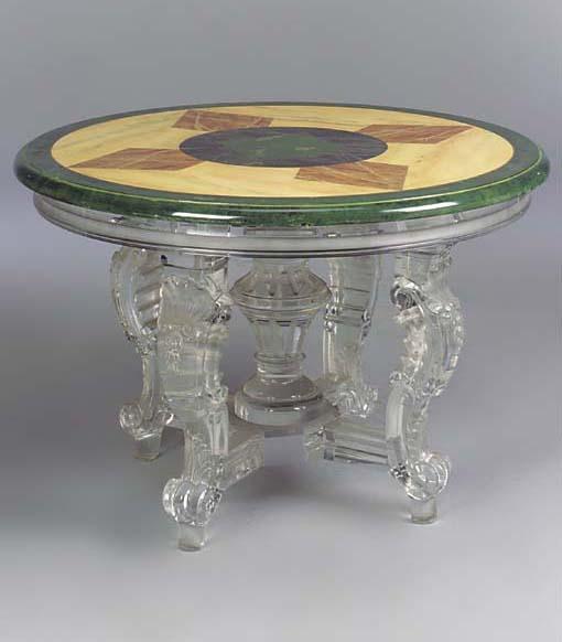 A MODERN ACRYLIC CENTRE TABLE