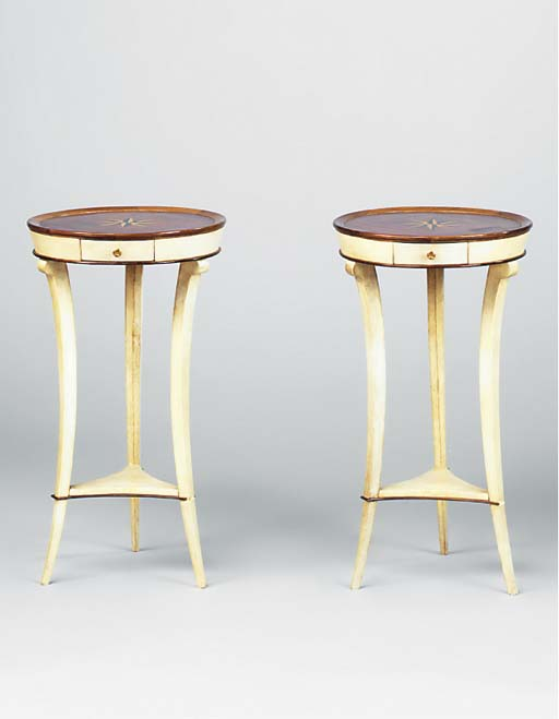 A PAIR OF MARQUETRY AND VELLUM