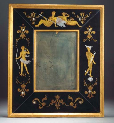 A GLASS AND GILT WOOD WALL MIR