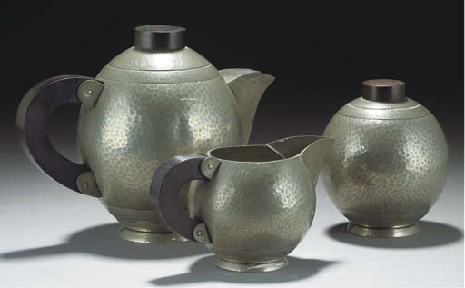A PEWTER AND WOOD TEA SERVICE