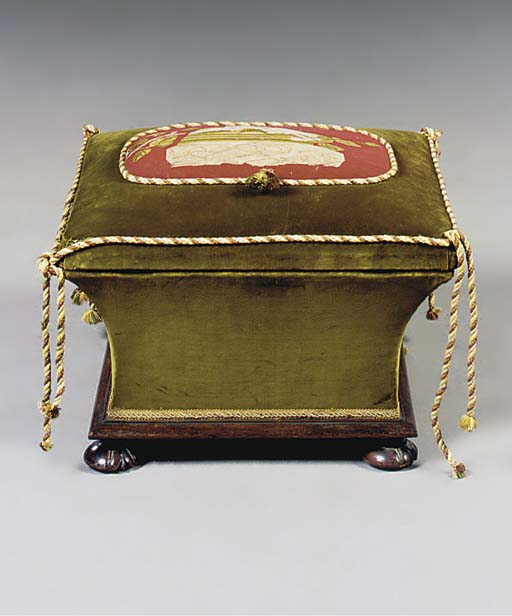 A VICTORIAN ROSEWOOD OTTOMAN