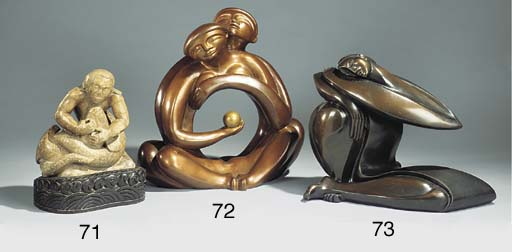 A sculpted soapstone group of
