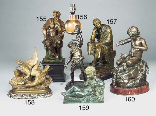 A French bronze group of a fau