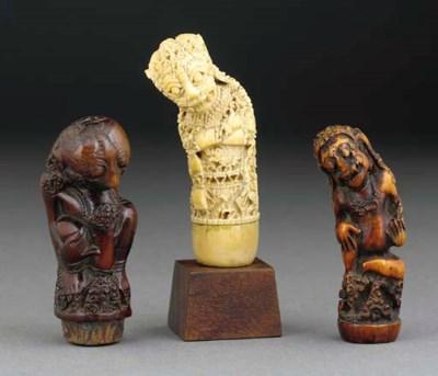 Three ivory kris handles, Indo
