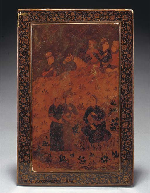 A Qajar lacquer mirror case an