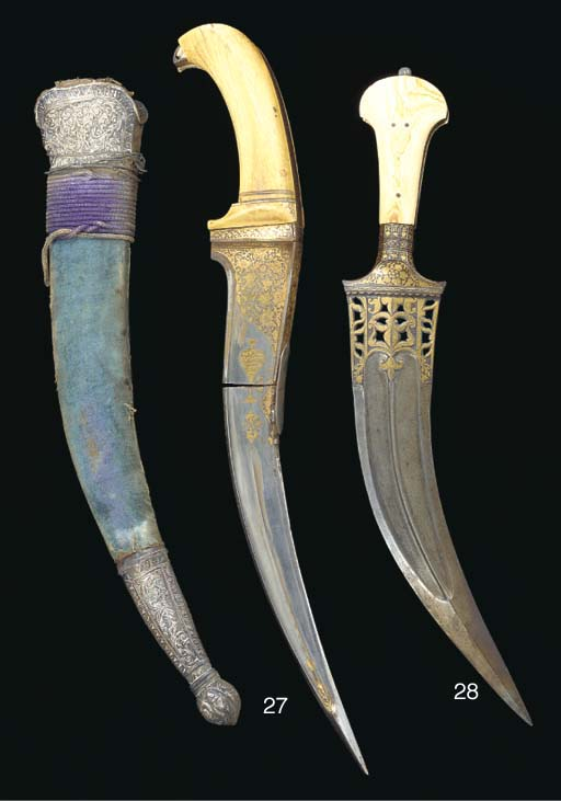 An ivory handled dagger, India