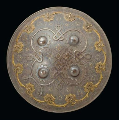 A damascened shield, India, 19