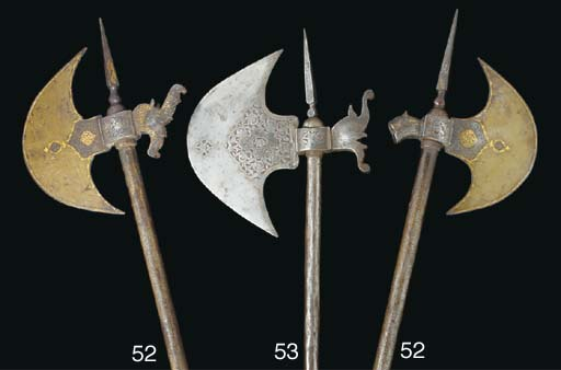 A Qajar steel axe, Iran, 19th