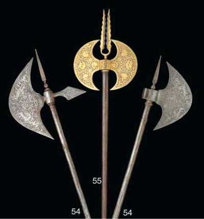 An damascened double sided axe
