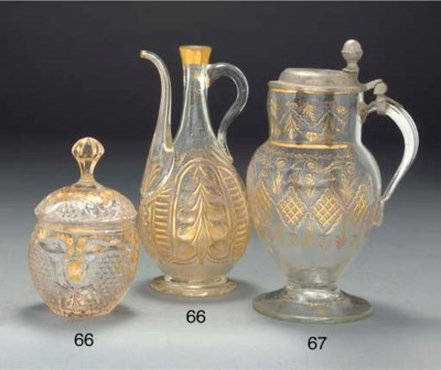 A Ottoman Beykoz glass ewer, T