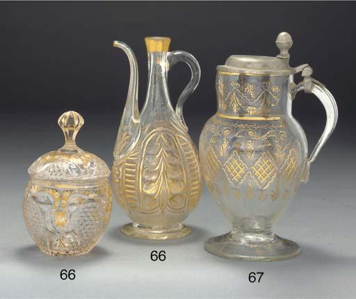 An Ottoman Beykoz glass ewer,