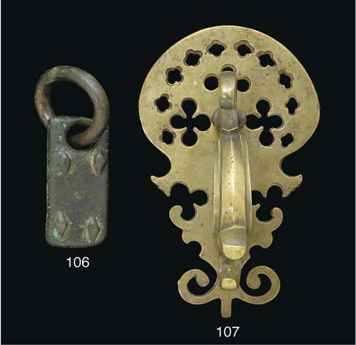 A large Qajar bronze door knoc
