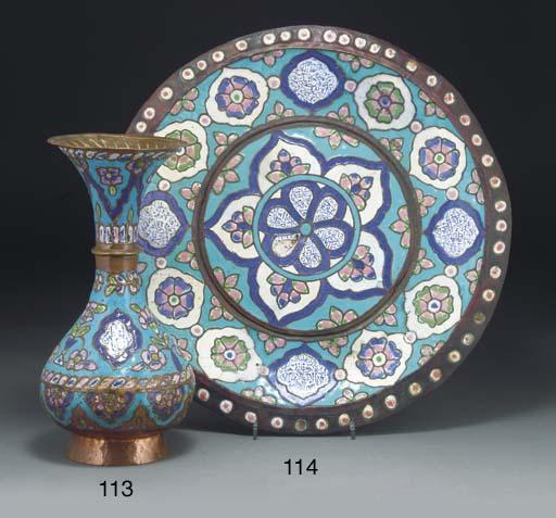 A enamelled copper tray, Syria