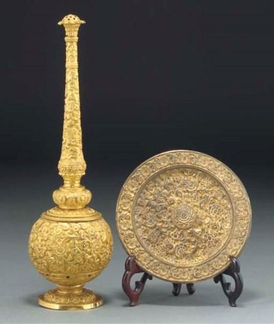 A gilt bronze rosewater sprink
