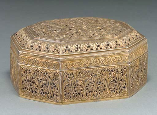 A silver gilt box and cover, I
