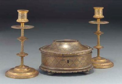 A Koftgari casket and a pair o