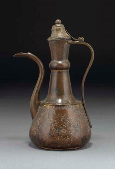 An Ottoman Tombak copper ewer,